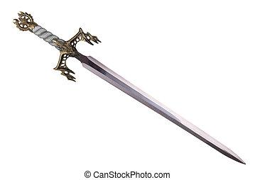 zwaard, gezind, door, diagonaal, vrijstaand, op wit, achtergrond.