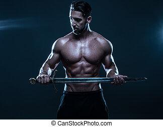 zwaard, shirtless, muscled, vasthouden, prachtig, man