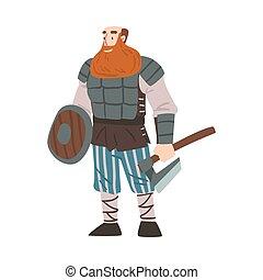 zwaard, slag, illustratie, traditionele , uitrusting, karakter, vector, stijl, strijder, scandinavische, mythologie, spotprent, viking, bijl