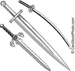zwaarden, drie