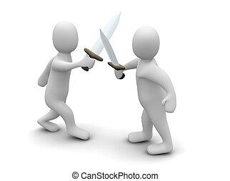 zwaarden, vecht
