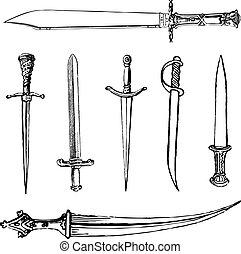 zwaarden, vector, messen