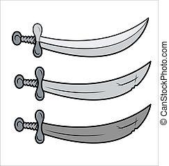 zwaarden, vector, -, retro, illustratie
