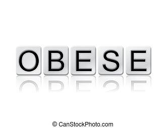 zwaarlijvige, concept, brieven, vrijstaand, thema, tiled