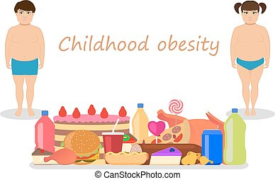zwaarlijvige, kindertijd, obesity., vector, spotprent, kinderen