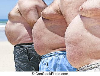zwaarlijvige, mannen, drie, dik, op einde, strand
