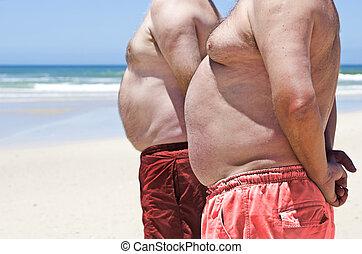 zwaarlijvige, mannen, op, dik, twee, afsluiten, strand