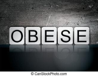 zwaarlijvige, thema, concept, brieven, tiled