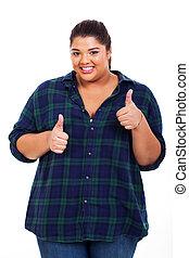 zwaarlijvige, vrouw, het opgeven, vrolijk, duimen