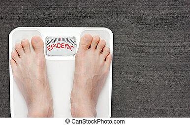 zwaarlijvigheid, badkamer, concept, schub, vrijstaand, kopie, epidemie, ruimte, voetjes