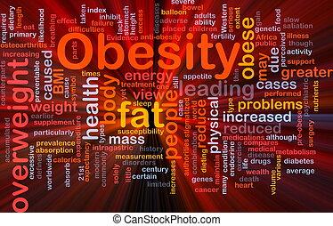 zwaarlijvigheid, concept, dik, achtergrond, gloeiend