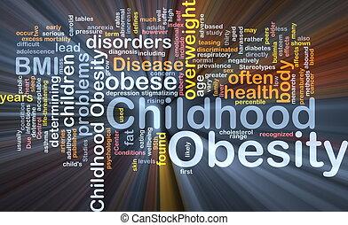 zwaarlijvigheid, concept, kindertijd, achtergrond, gloeiend
