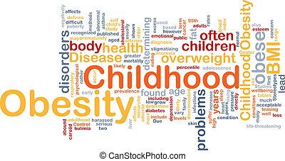 zwaarlijvigheid, concept, kindertijd, achtergrond