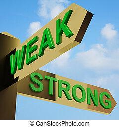 zwak, of, sterke, richtingen, op, een, wegwijzer