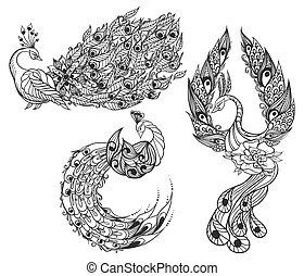 zwanen, drie, mythisch, tekening