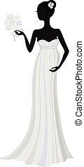 zwangere , bruid, in, lang, jurkje, vector, silhouette
