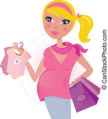 zwangere mamma, op, shoppen , voor, kind