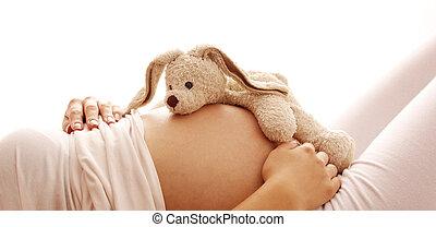 zwangere vrouw, op, een, witte achtergrond