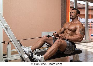 zware, bodybuilder, back, gewicht, oefening