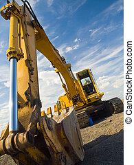 zware, bouwsector, plicht, worksite, uitrusting, geparkeerd