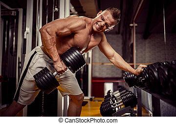 zware, gewicht, back, bodybuilder, sterke, oefening