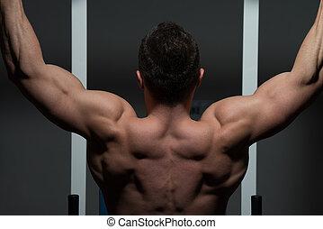 zware, gewicht, jonge, bodybuilder, mannelijke , oefening