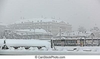 zware, het sneeuwen, zagreb, croatia.