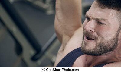 zware, hoofd, op, gym., liften, gewichten, sterke man