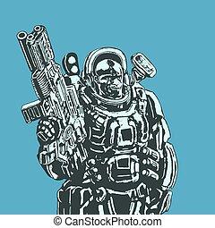 zware, illustration., ruimte, plasma, groot, vector, kostuum, marinier, rifle.