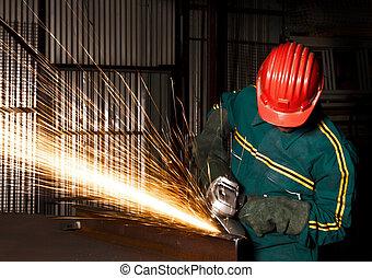 zware, industrie, handwerker, met, grinder
