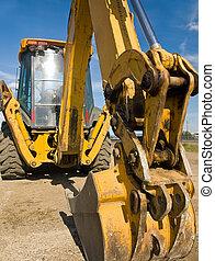 zware plicht, het werkplaats, uitrusting, bouwsector, geparkeerd