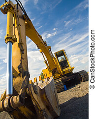 zware plicht, worksite, uitrusting, bouwsector, geparkeerd