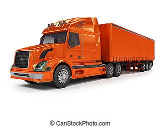 zware, rode vrachtwagen, vrijstaand, op wit