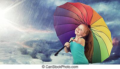 zware, roodharige, meisje, regen