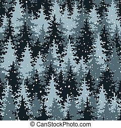 zware, sneeuw, in, de, dennenboom, forest.