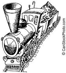 zware, spoorweg, motor