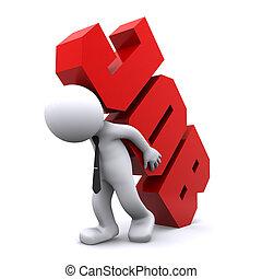 zware, teken., werk, verdragend, overworking, man, concept., 3d