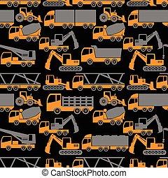 zware, vervoer, en, het voertuig van de bouw