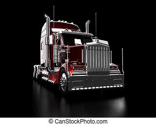 zware, vrachtwagen, rood