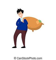 zware, wandelende, volle, geld, contant, zak, verdragend, ...