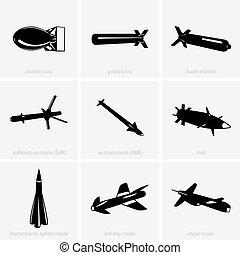 zware, wapen, iconen