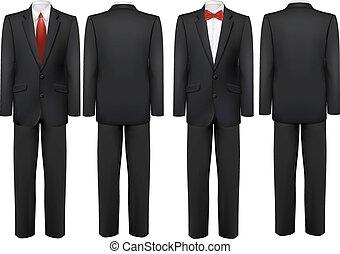 zwart kostuum, en, wit hemd, met, vlinder, en, tie., vector.