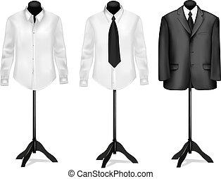 zwart kostuum, en, witte overhemden