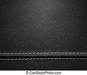 zwart leder, textuur, met, steek