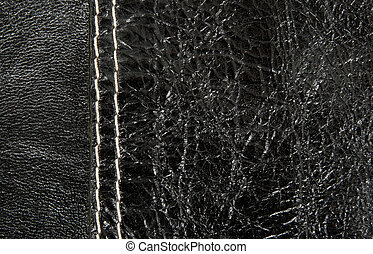 zwart leder, textuur, met, witte , steek