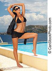 zwart meisje, bikini