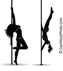 zwart meisje, sexy, silhouette