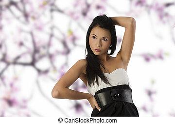 zwart wit, aziatisch meisje