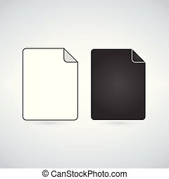 zwart wit, bestand, pictogram, vector, illustratie, vrijstaand, op wit, achtergrond.