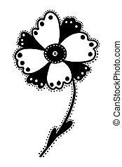 zwart wit, bloem, illustratie